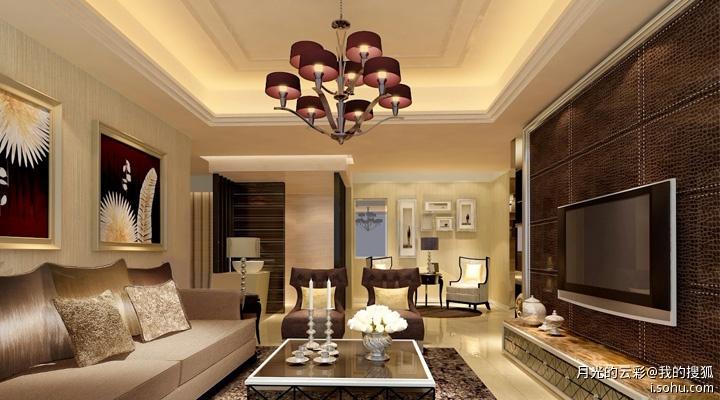 吊顶采用简单的边顶处理石膏线收边,搭配欧式的吊灯,主卧室床头背景墙图片