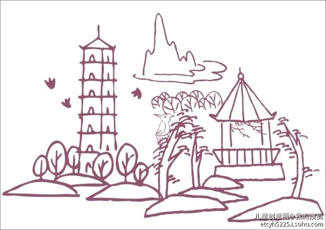 花园 简笔画|幼儿美丽花园简笔画|主题场景简笔画