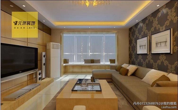 电视墙以清油木饰面和茶镜做装饰