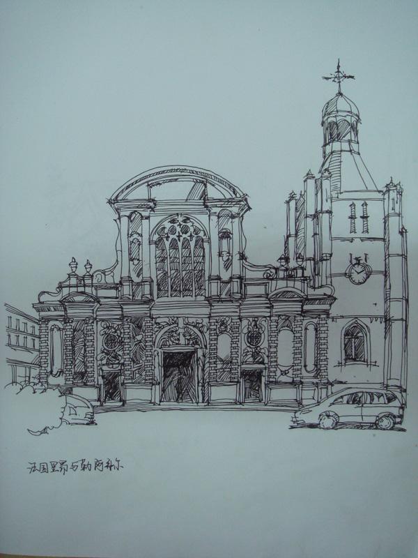 建筑钢笔画作业图片
