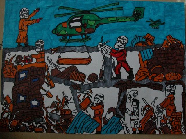 """我班的""""抗震救灾""""全国儿童绘画作品"""