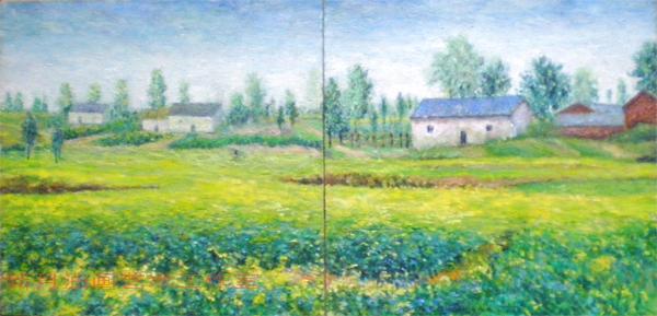 我的原创油画作品, 我的原创油画作品 阳光下的油菜花;; 油菜花香