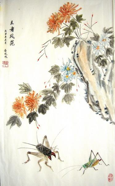 四条幅虫草蟋蟀篇,春晓原创工笔画及小诗