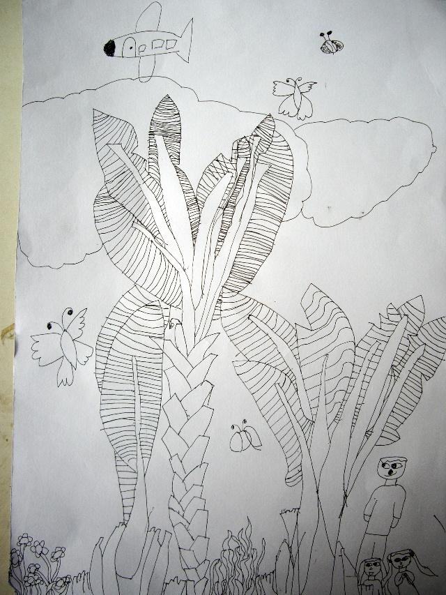 二1 班 陈海滢 点评:这几棵芭蕉树的叶子和树干的空白对比很好看.