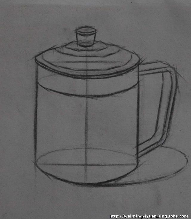 杯子结构透视素描