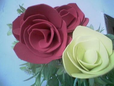 玫瑰是用海绵纸做的,而康乃馨是用皱纹纸做的哦