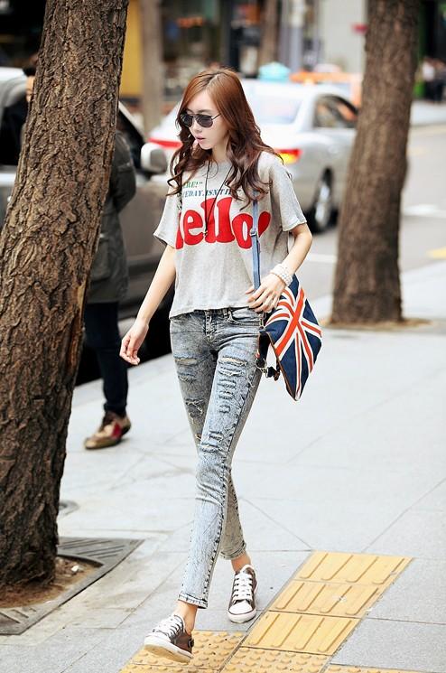 韩国街头t shirt美女