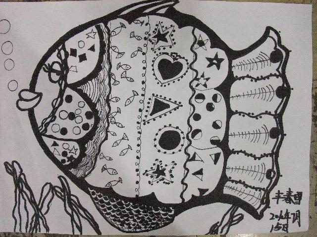 装饰画鱼的花纹_鱼线描装饰画图片