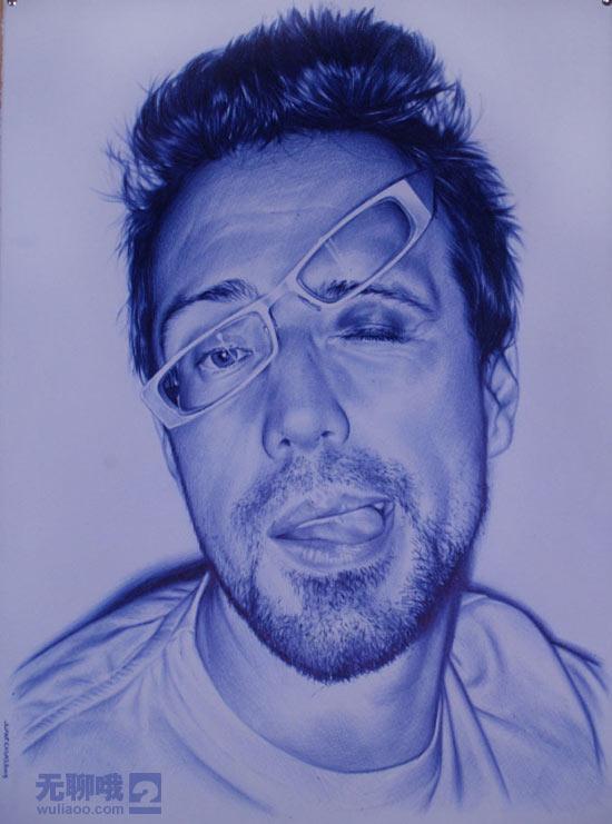一支小小的蓝色圆珠笔画出的不可思议的画----西班牙艺术家创作的