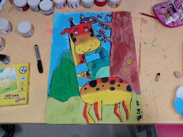绘画基础班--------可爱长颈鹿(黄色渐变色)-蚂蚁