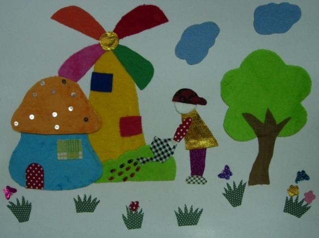 幼儿园布艺粘贴画民族风展示