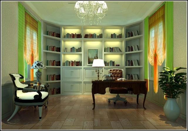 创设计方案【400㎡永定河孔雀城】后奢华风格书房装修效果图