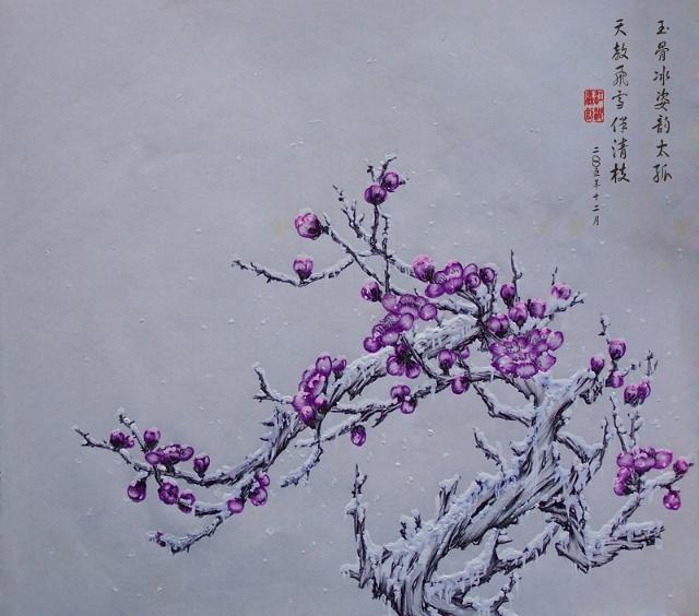 原创圆珠笔画——送寒梅(泛舟江湖20101120)
