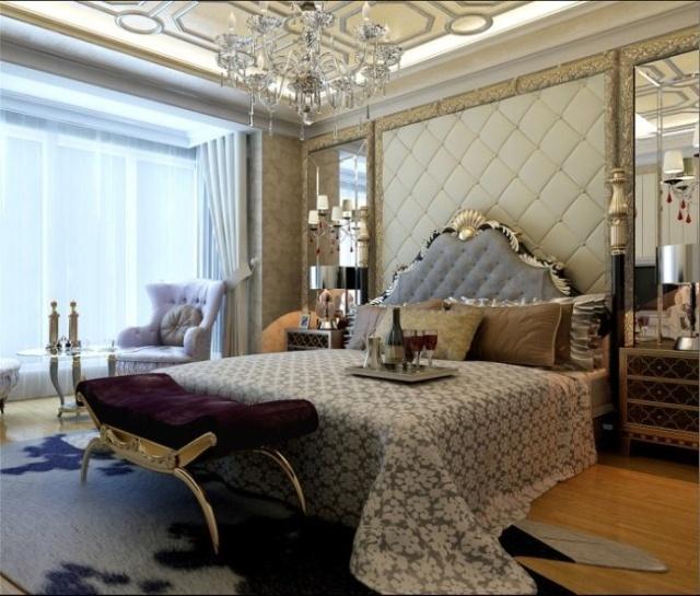 主卧室装修效果图,整体风格依然离不开主题思想.床头采用