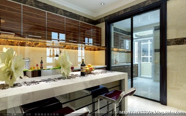 现代欧式258平米燕京航城-复式-案例--厨房装修效果图