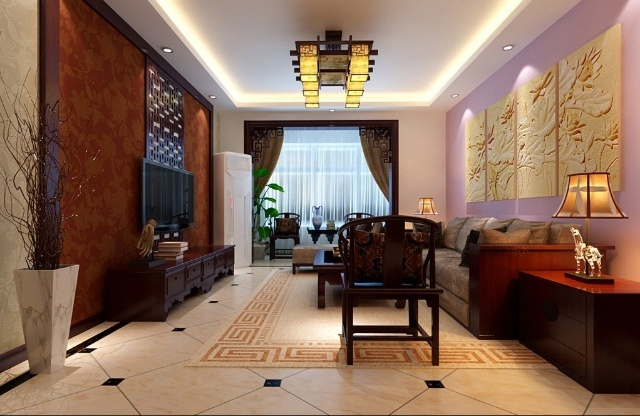 府前官邸小区140平米中式风格装修效果图
