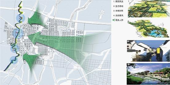 规划方法:将岔河,锦绣川风景区风光与乡村田园风光,贯于一线;在